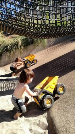 pushing trucks